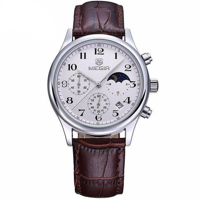 Megir Moonphase Leather Watch | SILVER + BROWN Pacific Bling