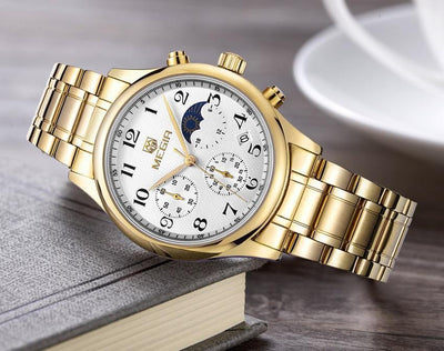 Megir Moonphase Stainless Steel Watch | GOLD Pacific Bling