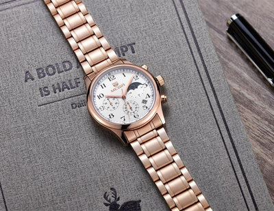 Megir Moonphase Stainless Steel Watch | ROSE GOLD Pacific Bling