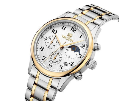 Megir Moonphase Stainless Steel Watch | SILVER + GOLD Pacific Bling