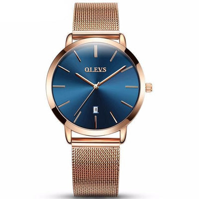 Olevs Minimalist Mesh Watch | ROSE GOLD + BLUE DATE Pacific Bling