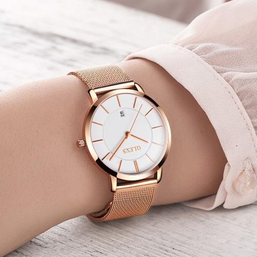 Olevs Minimalist Mesh Watch | ROSE GOLD + WHITE DATE