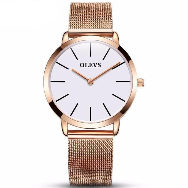 Olevs Minimalist Mesh Watch | ROSE GOLD + WHITE Pacific Bling