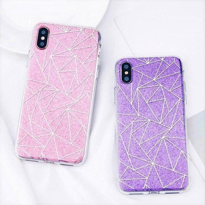 Pink Geometric Pattern Glitter iPhone Case Pacific Bling