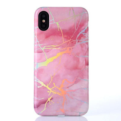 Pink Holo Laser Marble iPhone Case Pacific Bling