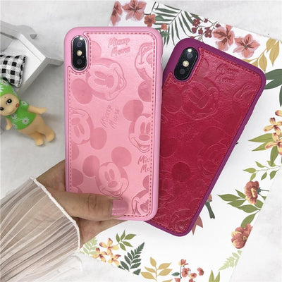 Pink Mickey Mouse Leather Phone Case Pacific Bling