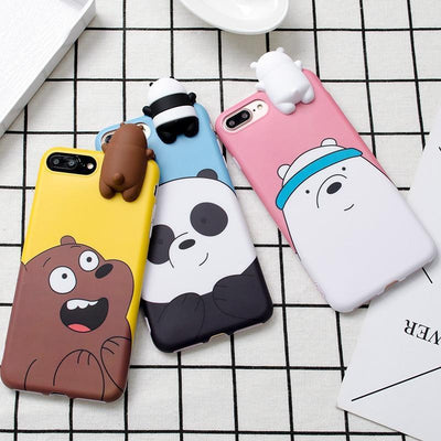 Pink We Bare Bears 3D Phone Case Pacific Bling