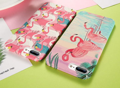 Pink White Teal Flamingos Pattern iPhone Case Pacific Bling