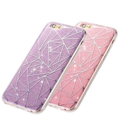Purple Geometric Pattern Glitter iPhone Case Pacific Bling