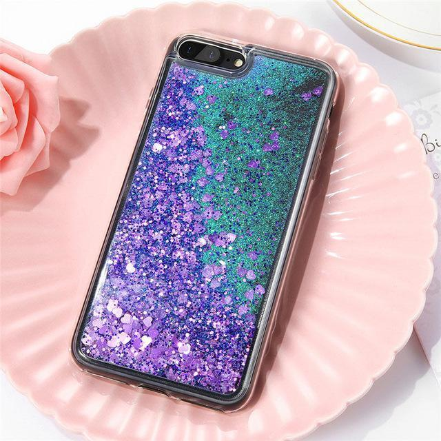 Purple Stardust Liquid Glitter Phone Case