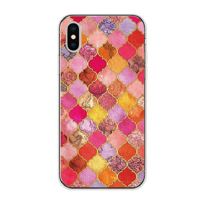 Red Exotic Moroccan Tile Patterns Cellphone Case Pacific Bling