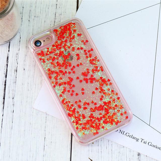 Red Stardust Liquid Glitter iPhone Case