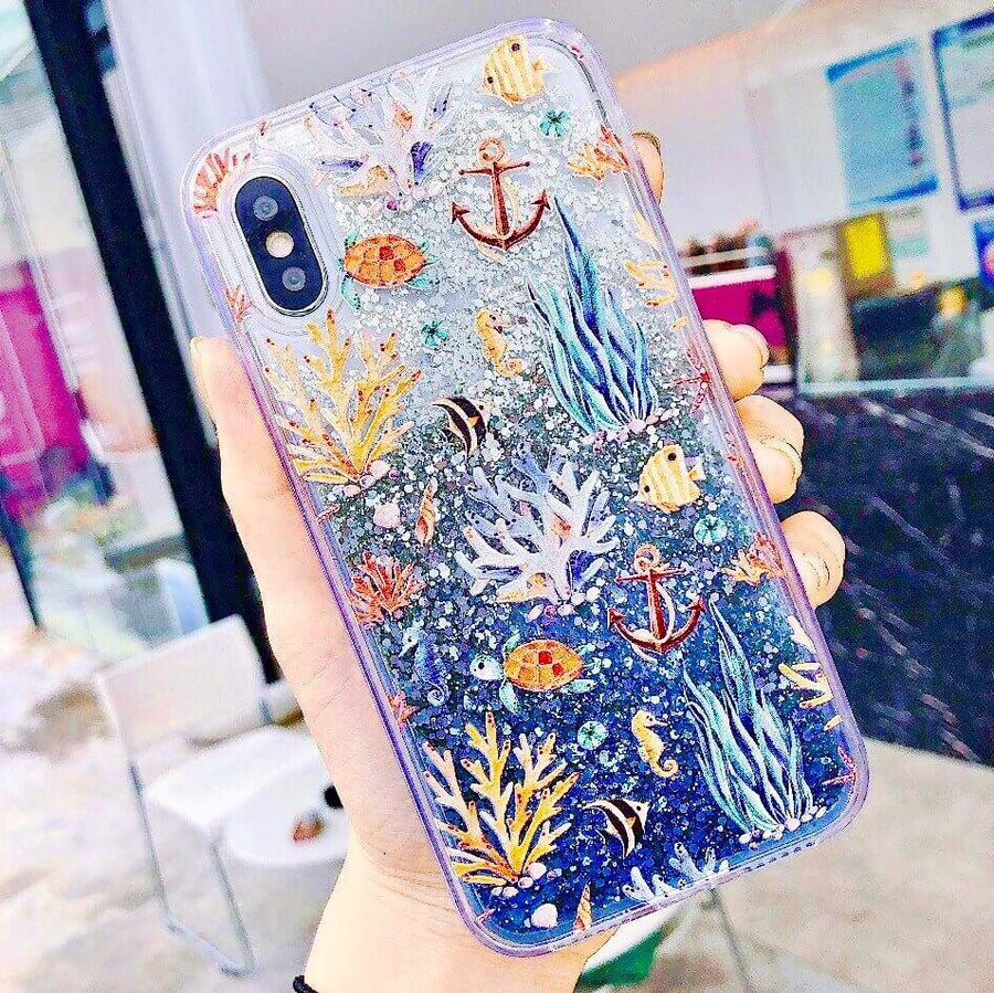 Sea Creatures & Corals Glitter Phone Case