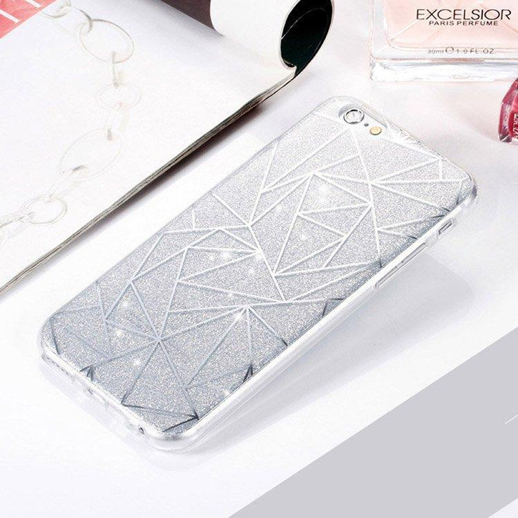 Silver Geometric Pattern Glitter iPhone Case