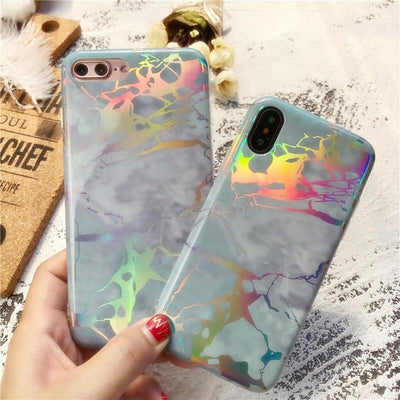 Sky Blue Holo Laser Marble iPhone Case Pacific Bling