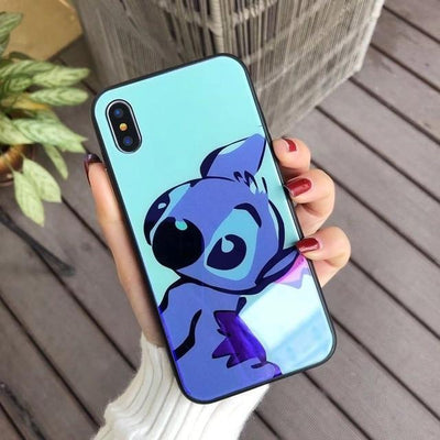 Disney's Stitch tempered glass back iPhone cell phone case by Pacific Bling