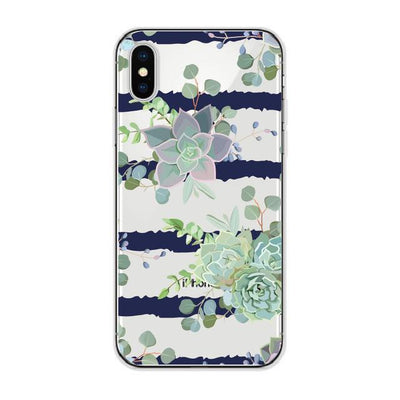 Succulent Cluster Stripes Cellphone Case Pacific Bling