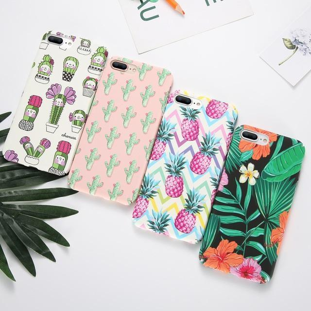 Summer Hibiscus and Leaves iPhone Case
