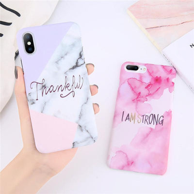 Thankful Quote Marble iPhone Case