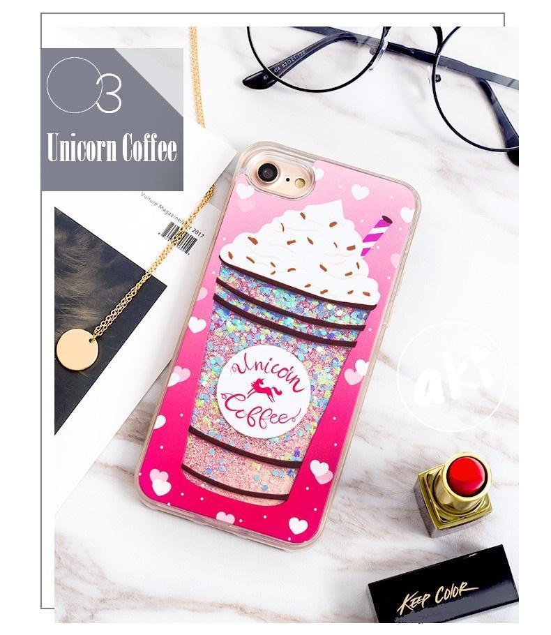 Unicorn Drinks Liquid Glitter Phone Case | COFFEE