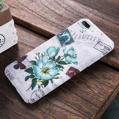 Vintage Blue Flower iPhone Case Pacific Bling