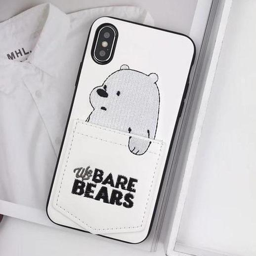 White We Bare Bears Leather Phone Case Pacific Bling