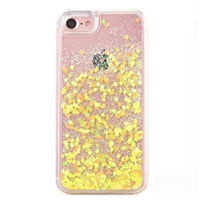 Yellow Stardust Liquid Glitter iPhone Case Pacific Bling