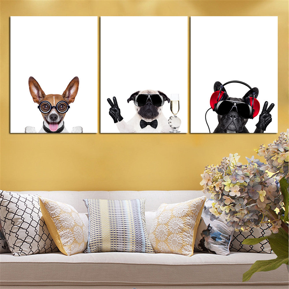 Mordern Cool Dog Wall Canvas Art 3 Pieces (Without Frame ...