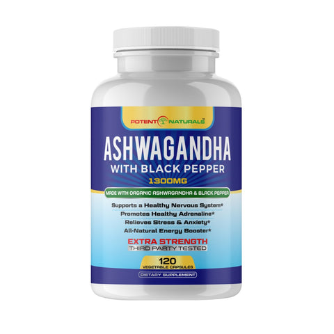 Organic ASHWAGANDHA With Organic Black Pepper - Potent Naturals