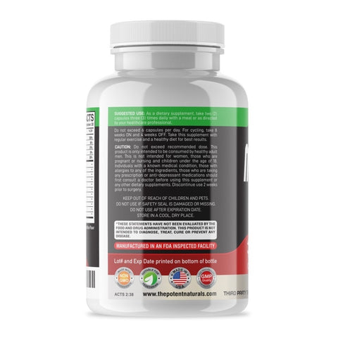 Image of MALE SURGE Premium Testosterone Booster 2100mgs D-AA-CC (180-Veggie Capsules) EXTRA $10 OFF USE CODE:  MALE10  (LIMITED TIME ONLY) - Potent Naturals