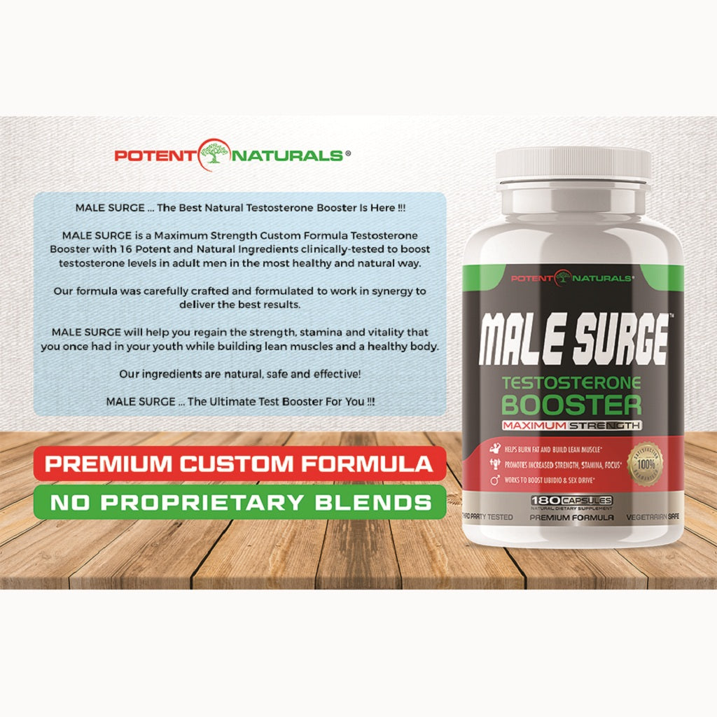 MALE SURGE Premium Testosterone Booster 2100mgs D-AA-CC (180-Veggie Capsules) EXTRA $10 OFF USE CODE:  MALE10  (LIMITED TIME ONLY) - Potent Naturals
