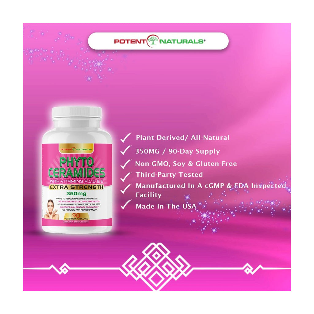 PHYTOCERAMIDES Natural Anti-Aging 350mg (Plant-Derived) - Potent Naturals