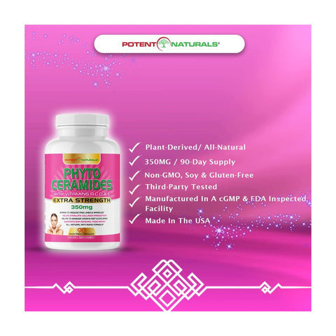 Image of PHYTOCERAMIDES Natural Anti-Aging 350mg (Plant-Derived) - Potent Naturals
