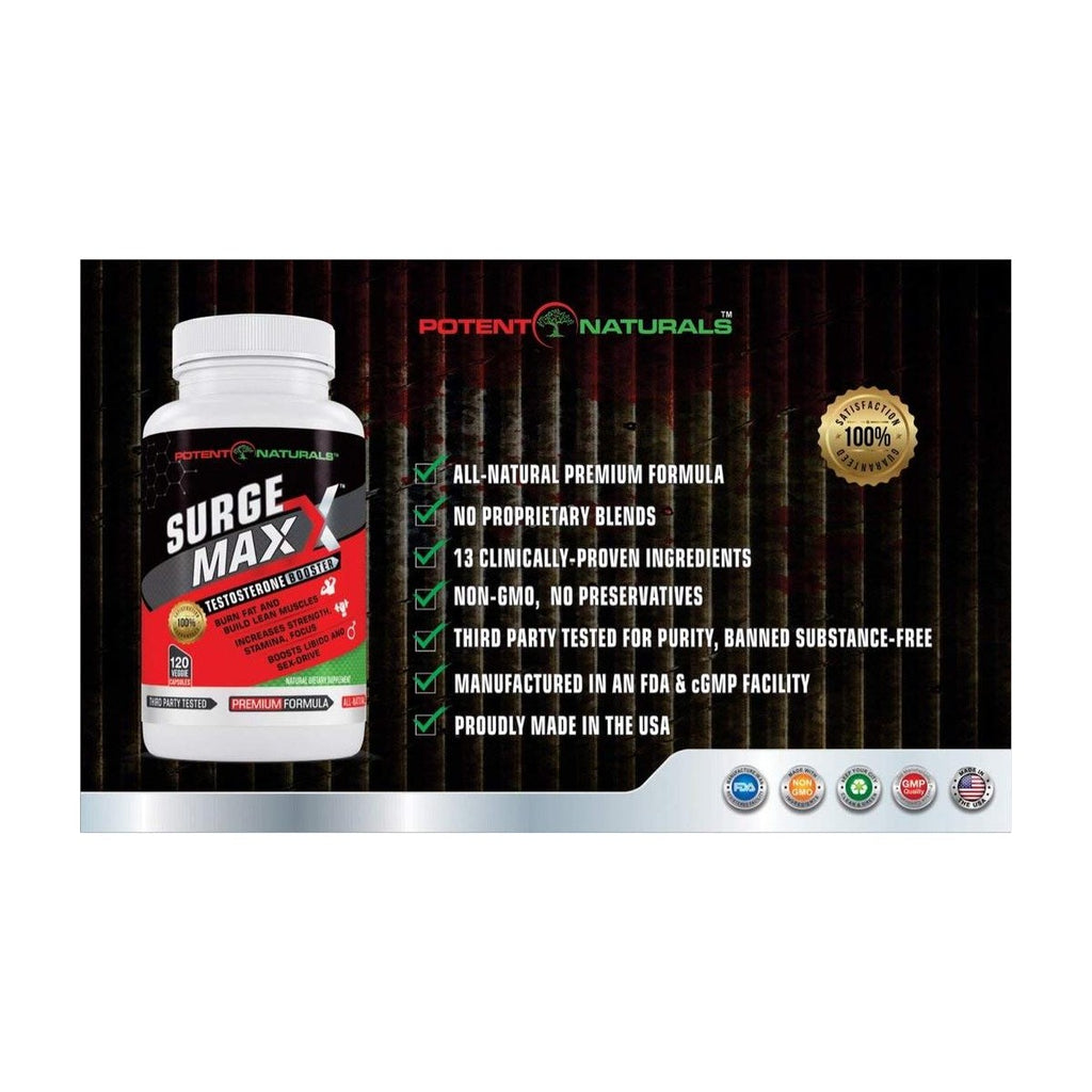 SURGE MAXX Premium Testosterone Booster - 1600mg D-AA-CC (120-Veggie Caps) EXTRA $5 OFF USE CODE:  SURGE5  (LIMITED TIME ONLY) - Potent Naturals