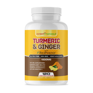 TURMERIC Curcumin & Ginger With Bioperine 1500mg - Potent Naturals