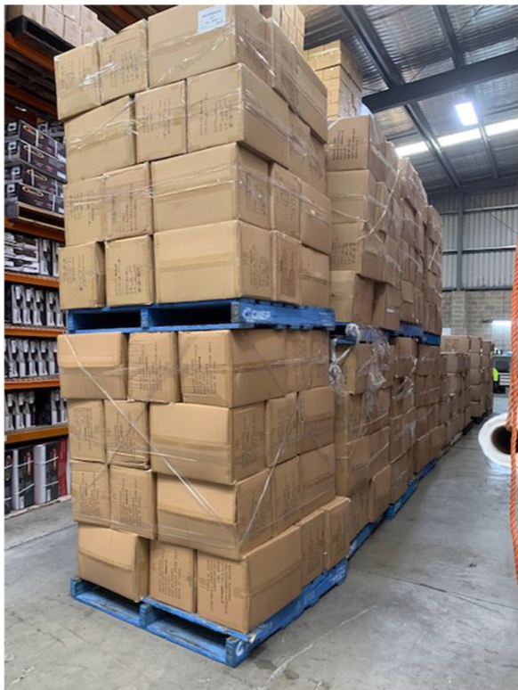 Maxted knitwear boxes in a warehouse