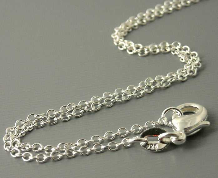 Necklace - Sterling Silver Plated - 2mm x1.5mm - 18 inches - 1 necklace - Pim's Jewelry Supplies