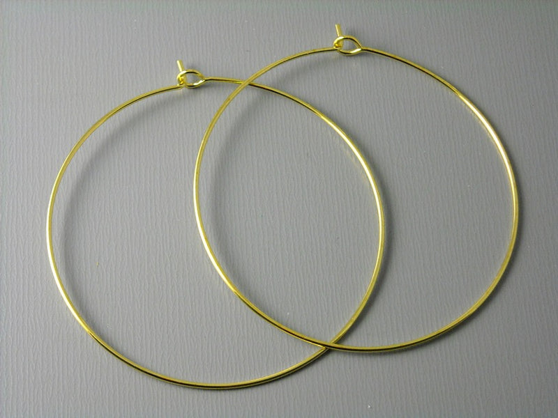 45mm Gold Plated Hoop Earrings - 20 pcs (10 pairs) - Pim's Jewelry Supplies
