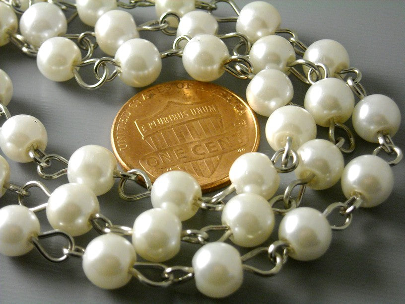 6mm Ivory Glass Pearl Chain - Antique Silver Plated Wire - 3.25 feet
