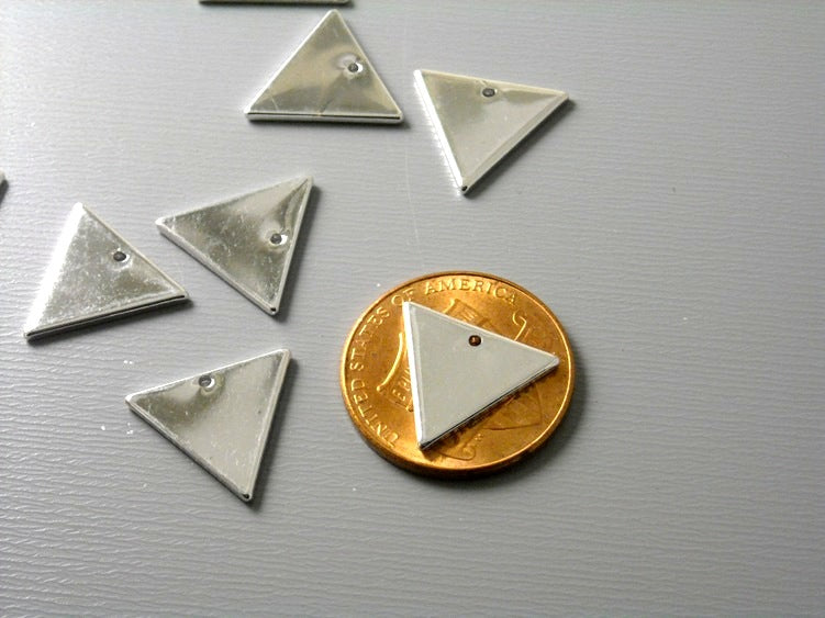 Charm - Platinum Plated - Triangle Shape - 12mm x 14mm - 4 pcs