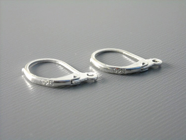 Genuine Sterling Silver Hoop Earrings with Lever Back - 15mm - 10 ct