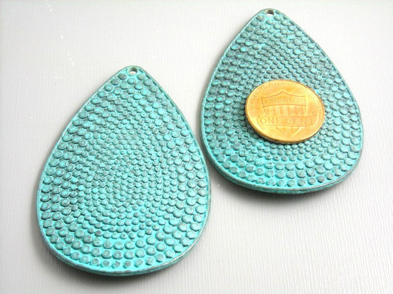Charm in Drop Shape - Patinaed & Textured - 59mm - 2 pieces