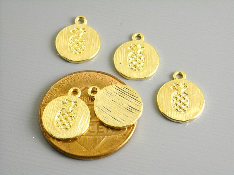 18k Gold Plated Disc - Pineapple Symbol - Textured - 11.5mm - 1 disc
