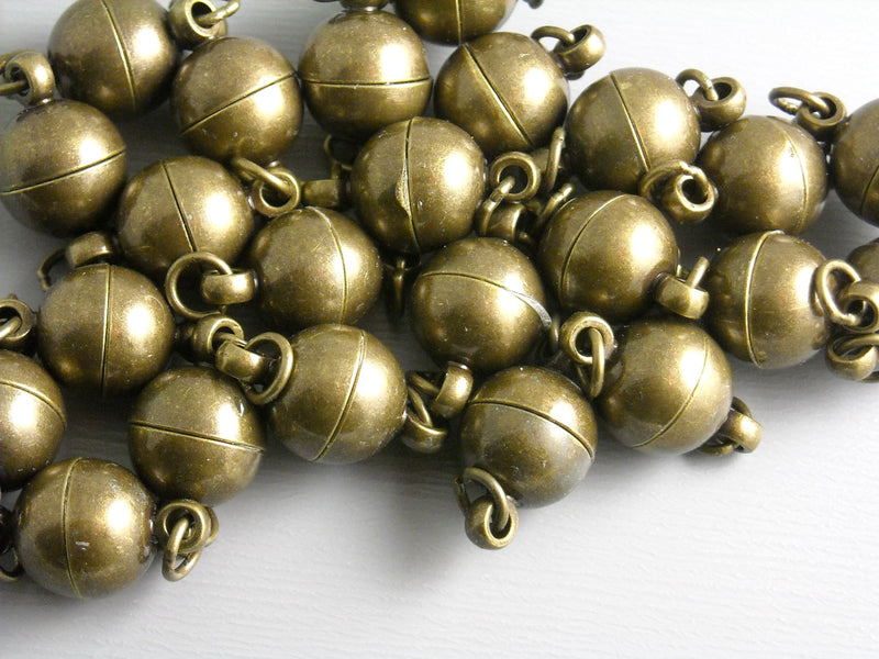 Magnetic Clasps - Antique Bronze or Silver - 14mm x 8mm - 4 pcs - Choose your plating