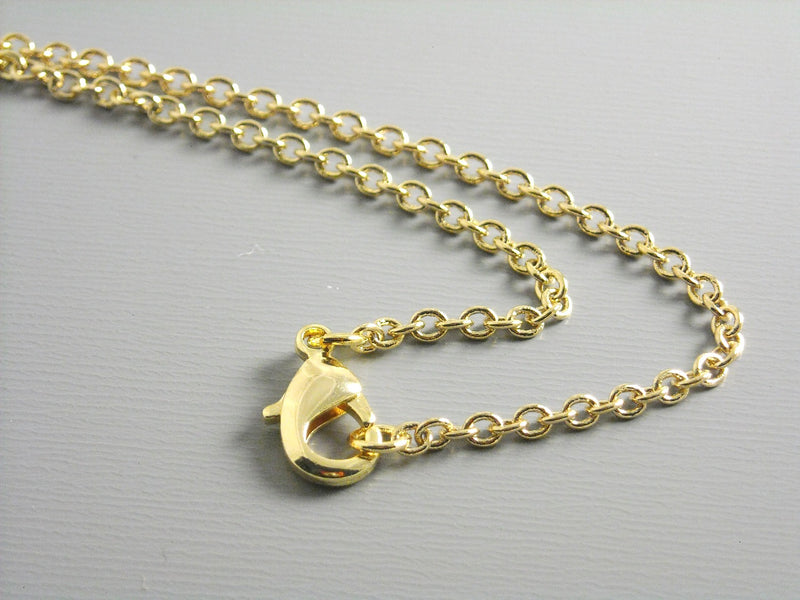 Necklace - 14k Gold Brass Chain - Heavily Plated - 2.5mm - Choose your length - Pim's Jewelry Supplies