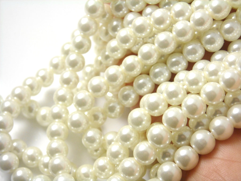 Czech Glass Pearl, Ivory color, 4mm, 6mm, 8mm - Full 15-inch strand - Choose your size