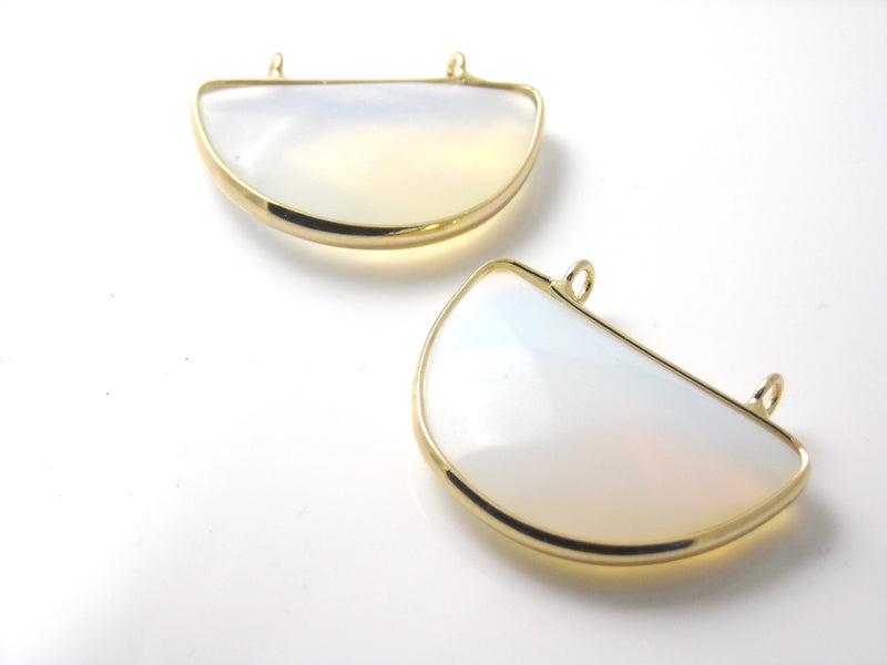 Gemstone - Opalite Pendant - Gold Plated Brass Frame - 32mm - 1 pc - Pim's Jewelry Supplies