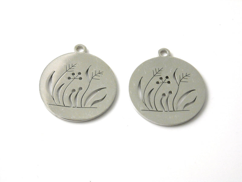 Pendant - Stainless Steel - Laser Engraved Wild Grass - 20mm - 1 pc