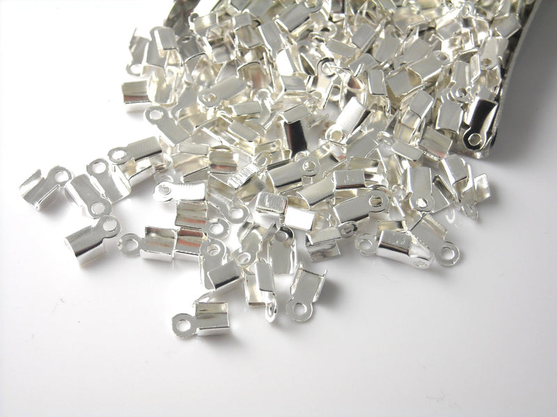 Folding Crimp - Antique Bronze / Silver Plated - 6mm x 3mm - 20 pcs - Choose your color - Pim's Jewelry Supplies