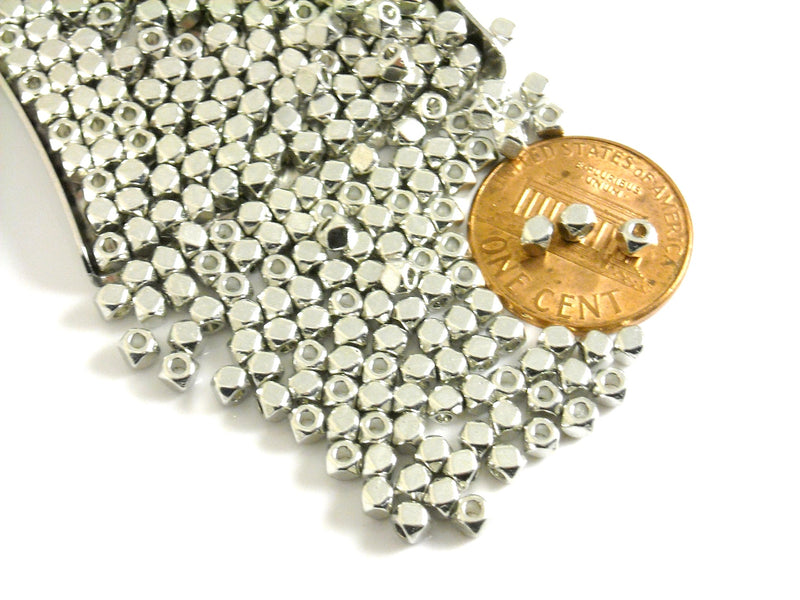 Spacer - DARK Silver Plated - Hexagon Shaped - 3mm - 30 pcs